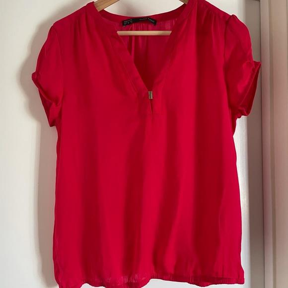 Zara basic hot pink shirt sleeves top